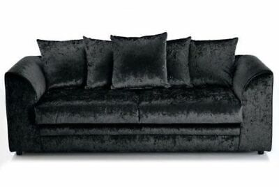 New Marilyn Crushed Velvet Grey 3 Seater Sofa Settee Couch Cheap Sale Glitz