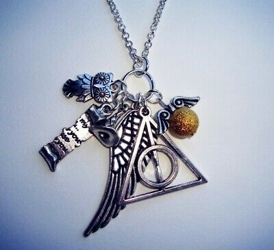 Collana TRIANGOLO DEATHLY hallows HARRY POTTER Boccino d'Oro Civetta
