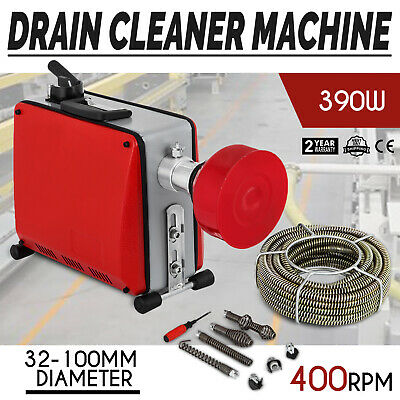 "1.25""-4""Ø Pipe Drain Cleaner Machine 0.3/0.6/0.9 in Ø Spirals 1 Set"