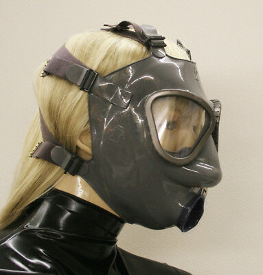 <>Latexvertrieb<> Latex Latexmaske Gasmaske - BLACK CONDOME