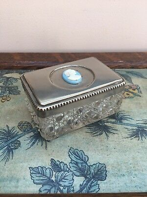 Vintage Cameo & Crystal Glass Dressing Table/ Desk Box Pot, Silver Coloured Lid