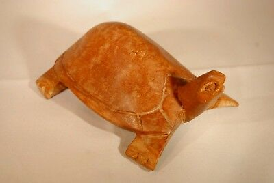 Hand Carved Solid Hard Wood Wooden Sea Turtle Figurine - 160x105x60mm - 0375