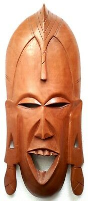 Vintage Large African Wooden Tribal Hand Carved Mask Wall Hanging