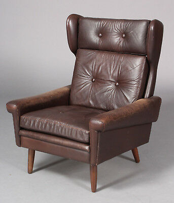 Danish Mid Century Svend Skipper Leather And Rosewood Lounge Chair 1965