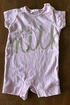 WORN ONCE Baby Girls 0-3 Months Next Powered By Milk Pink Romper Summer Outfit