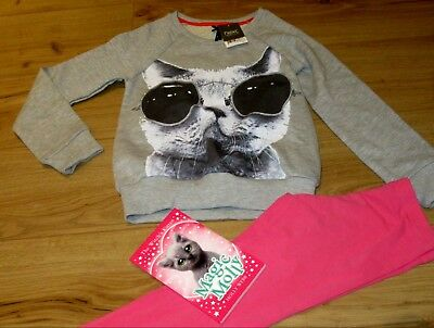 £29 girls NEXT Cat book Jumper & Leggings . Age 9 - 10  Years pink SUMMER gift