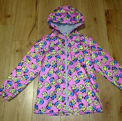 £42 jacket Girls NEXT Hooded Rain Coat Jacket  Pink Minion  11 - 12 Years LIGHT