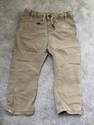BABY ZARA Boys Chino Trousers Age 12-18 Months 12-18m green beige brown jeans