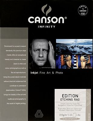 Canson InFinity Edition Etching Rag Papier Photo 25 Feuilles 310 g A4 Blanc