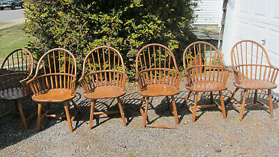 HUNT COUNTRY FURNITURE CONTINUOUS BOW ARM OAK CHAIRS, need repair