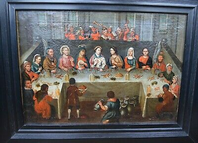 Dutch Flemish school Old Master oil Painting Wedding feast at Cana 17th century