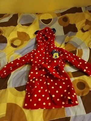 Girls Minnie Mouse hooded dressing gown 9-12 months