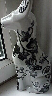 .Cat Ornament White with Black Pattern...Leaves Flowers Insects