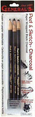 General Pencil Peel & Sketch Lot de 4 Crayons fusains + Gomme Noir