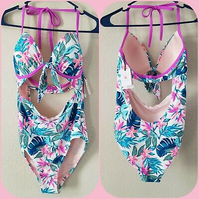 b08c7975701 NEW SHADE & SHORE One piece Swimsuit Size 34B* Light Lift *Hawaiian Floral*