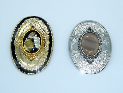 2 Vintage Belt Buckles With Real Stones Shells