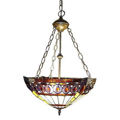 "Tiffany Style Stained Glass Amberjack Brown Hanging Lamp 16"" Shade New"