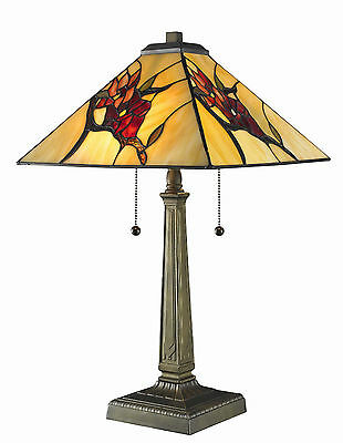 "Tiffany Style Stained Glass Floral Mission Table Lamp Handcrafted 16"" Shade NEW"