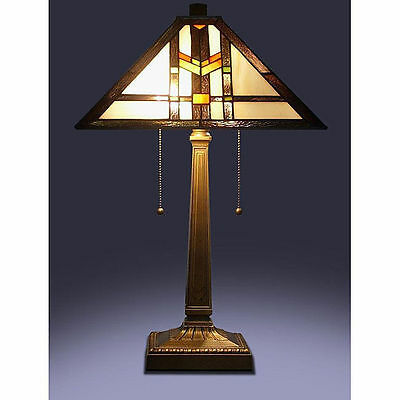 """Tiffany Style Stained Glass Brown Mission Table Lamp 16"""" Shade Handcrafted New"""
