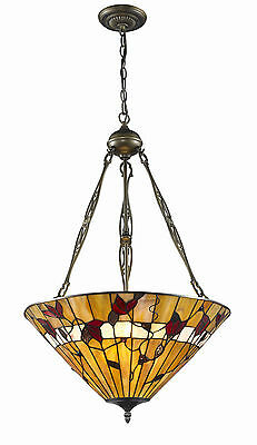 "Tiffany Style Stained Glass Spring Blossom Hanging Lamp Handcrafted 16"" Shade"
