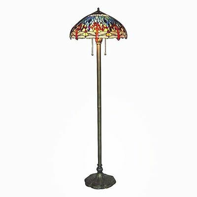 "Stained Glass Tiffany Style Red Dragonfly Floor Lamp 2 Lights 18"" Shade"