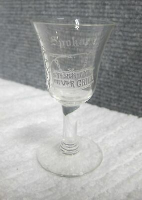 Antique Etched Shot Glass Silver Grill The Spokane Hotel Swastika