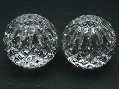 """Pair Waterford Cut Crystal Lismore Pattern Candle Holders Round Globe Ball 2.5"""""""