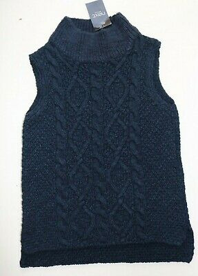 Next - Navy Blue Cable Knitted Soft Cotton Tabard Jumper  - Girls 5 Years – New
