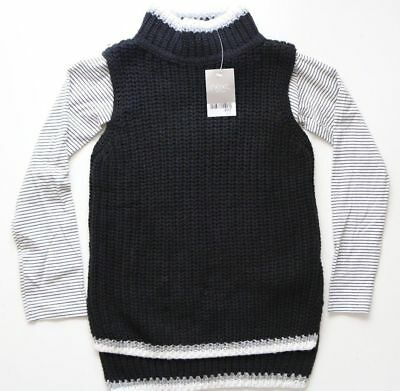 Next - Black Knitted Tabard Jumper & Blouse Top Outfit - Girls 8 Years – New