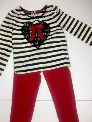 Cherokee Girls Outfit Long Sleeve Top Leggings Red Black White Size 4