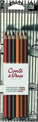 Conté à Paris - Blister de 6 Crayons Esquisse Sanguine Couleurs Assorties