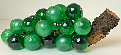 """Mid-Century Vintage Opaque & Clear Green Lucite Grape Cluster Scullpture 13"""""""