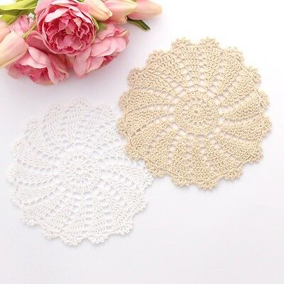 Crochet doilies white and cream 19-20 cm for millinery and crafts