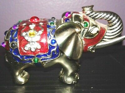 Elephant Figurine-Trinket Compartment-Multi-color-Metal-Used
