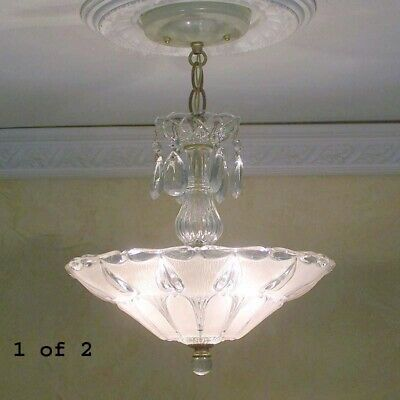 179b Vintage antique arT DEco Ceiling Light Lamp Fixture Chandelier pink