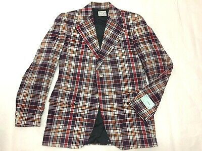 DEADSTOCK VTG 60s 70s INDIAN BLEEDING MADRAS COTTON PLAID SPORT COAT BOYS Sz. 18