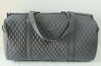 Vera Bradley Large Traveler Quilted Carry On Duffel Gym Bag Carbon Gray