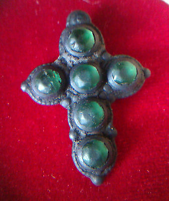 Ancient bronze cross with a stones. #133.
