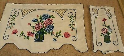 Sweet Antique Hand Embroidered Table/Dresser Scarf