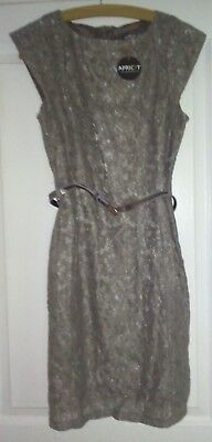 Brand New With Tag Flower Pattern Lace Small Dress Tan/Light Brown/Gold W/ Belt