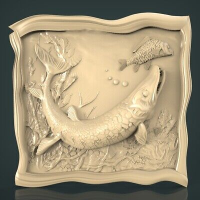 (1225) STL Model Fishing for CNC Router 3D Printer Artcam Aspire Bas Relief