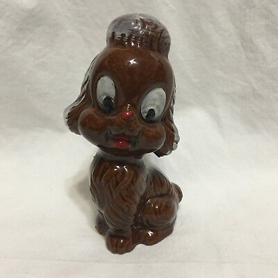 Vtg, Japan, Red Clay, Brown Glaze Poodle Dog Figurine, Hand Painted