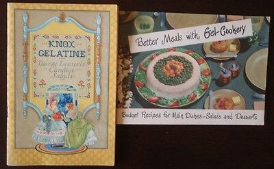 Knox Gelatine Vintage Lot of 2 Booklets Gel-Cookery Recipes Dainty Desserts Main