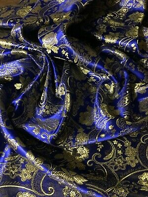 "Royal Blue Paisley Floral Brocade Fabric 58"" Wide Dress Upholstery Coat Jacket"
