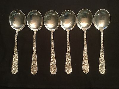 "Set 6 S Kirk & Son Repousse Sterling Silver Round Bowl Soup Spoons Mono-S 6""  1"