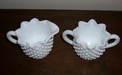 Hobnail Cream & Sugar Bowl Crimped Star Pattern - Unmarked Fenton ? Milk Glass