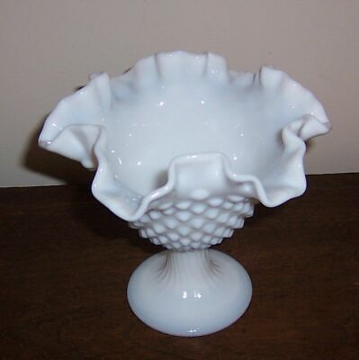 Hobnail Pedestal Bowl Dish Ruffled Crimped Rim - Fenton Milk Glass Blue Tint  #2