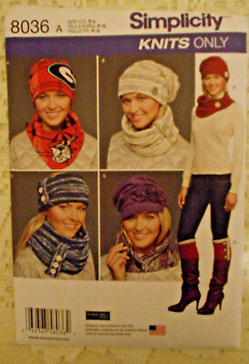 3723d0d61a6 simplicity 8036 sewing craft pattern hat scarf boot topper size s-m-l 2015  uncut