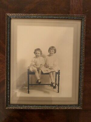 Antique  Picture Frame w/ 2 Children, Girl Photo Ornate Wood Gesso Gilt Carved