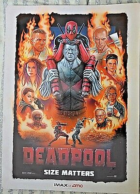 "DEADPOOL Original Promo Movie Poster 9.5""x13"" IMAX 2015 AMC Ryan Reynolds MARVEL"